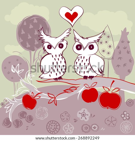 doodle owl couple in love sitting on an apple tree - stock photo