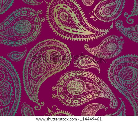 Doodle paisley seamless pattern. Raster. - stock photo