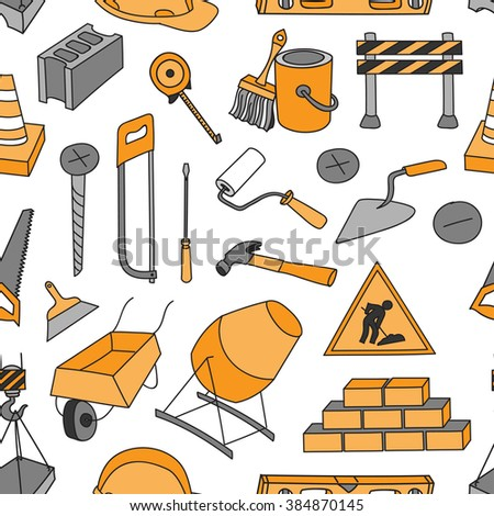 Doodle pattern construction tools  pattern. Drill, screwdriver,pliers,saw,  knife, wrench, hammer, screwdriver, screws, putty knife, brush.