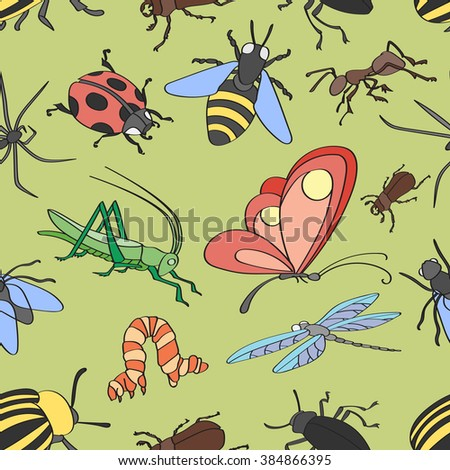 Doodle pattern with various insects.