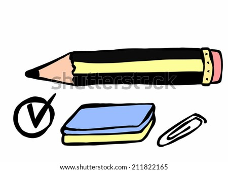 doodle pencil, eraser, paperclip  - stock photo
