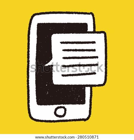 doodle phone speech - stock photo
