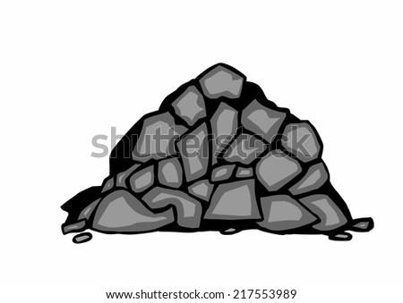 Coal Cartoon Drawing Doodle Pile Black Coal