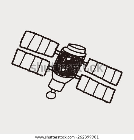 Doodle Satellites - stock photo