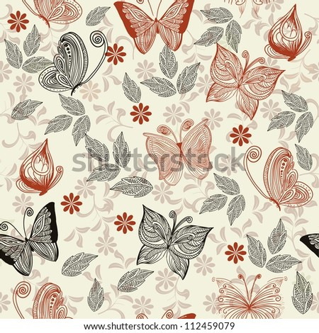 doodle seamless pattern with butterfly - stock photo