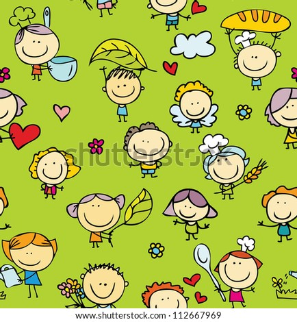 Doodle seamless texture of happy family with kids - stock photo
