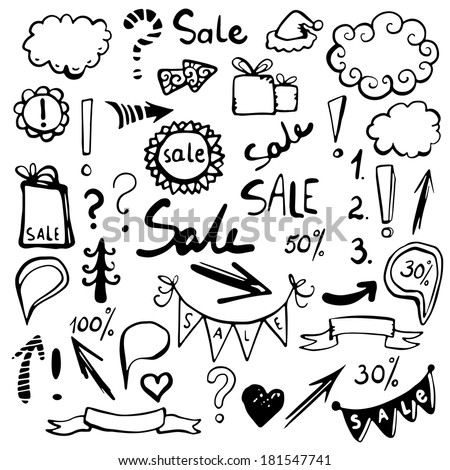 Doodle set elements. Frames, arrows, gifts, boxes, percents, numbers, sun, cloud, christmas tree, heart, flags, banners on sale. Isolated  black silhouette -  raster version - stock photo