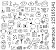 Doodle, set hand drawn icon - stock photo