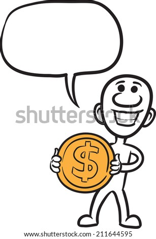 doodle small person - holding big dollar coin