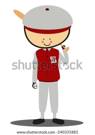Doodle softball player - Full Color - stock photo