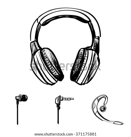 Doodle style headphones illustration on a white background - stock photo