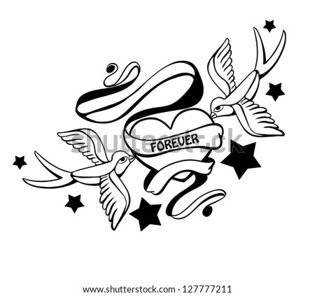 Doodle swallows with heart in tattoo style. Raster. - stock photo