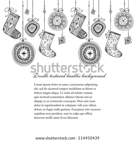 Doodle textured Christmas baubles and socks seamless line. Raster. - stock photo