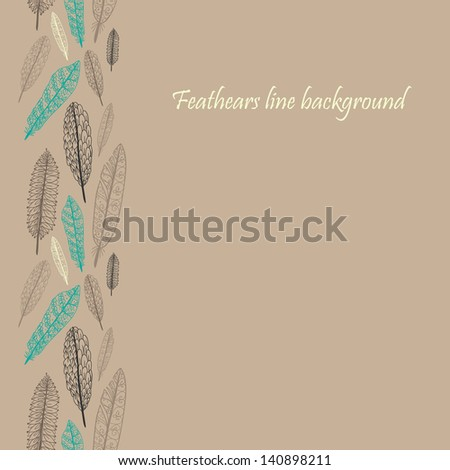 Doodle textured feathers seamless line. Raster. - stock photo