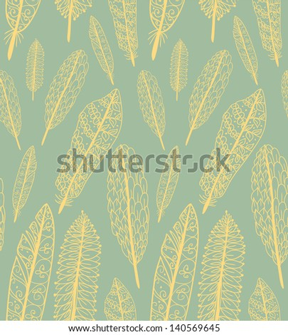 Doodle textured feathers seamless pattern. Raster. - stock photo