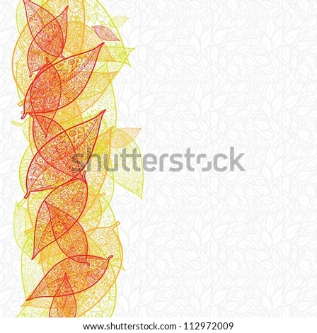 Doodle textured leaves background. Raster.