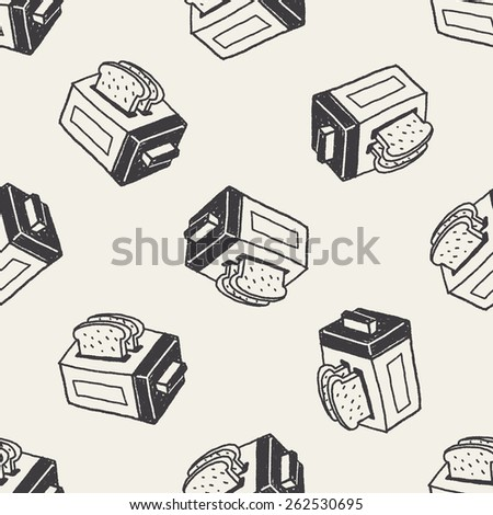 Doodle Toaster seamless pattern background - stock photo