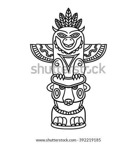 Doodle Traditional Tribal Totem Pole isolated on white background, coloring book. Black and white illustrations - stock photo