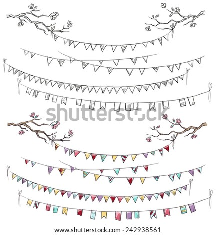 Doodle tree branches and party flags. Garlands. Decorations.  - stock photo