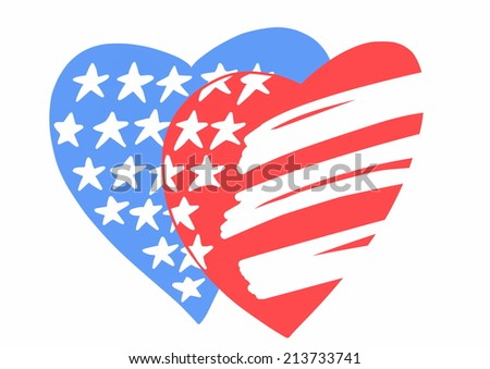 doodle USA heart flag isolated on white background