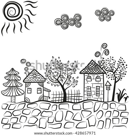 Doodle village landscape. Abstract countryside. Sketchy houses and trees. Raster illustration. - stock photo