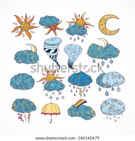 Doodle weather forecast color decorative design elements collection isolated  illustration