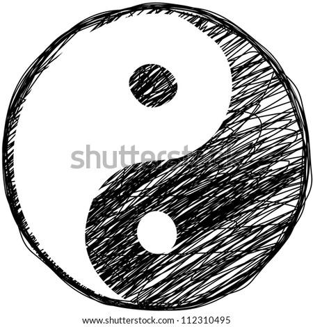 Doodle yin-yang symbol.Yoga concept. - stock photo