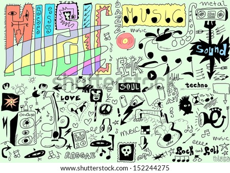 doodles funny music background - stock photo