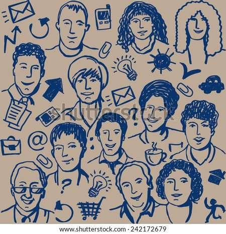 Doodles ink business icon and sketch of people seamless pattern. Hand-drawn sketch of unrecognizable business people and objects. Blue ink on the beige background illustration. - stock photo