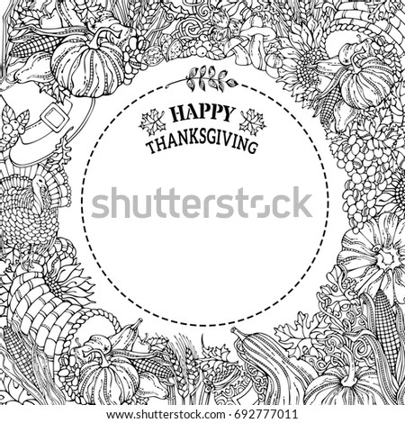 Chalk Thanksgiving Frame Vector Traditional Festive Stock Vector ...