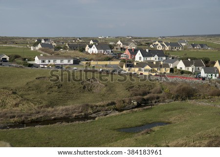DOOLIN, IRELAND - FEBRUARY 28, 2016: View of colorful Doolin town, centre of traditional irish music.