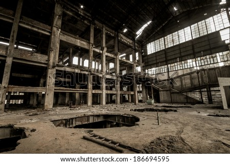 doomsday dilapidated ruins factory - stock photo