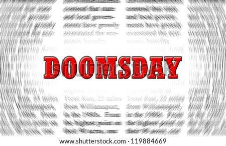 doomsday written on a newspaper background - stock photo
