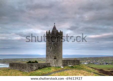 Doonagore castle at dusk - HDR - stock photo