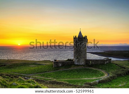 Doonagore castle at sunset - HDR - stock photo