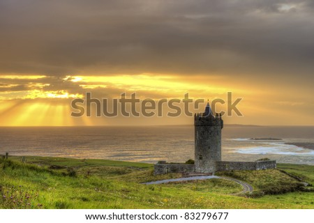 Doonagore castle at sunset in Ireland. - stock photo