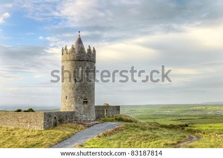 Doonagore castle at sunset, Ireland. - stock photo