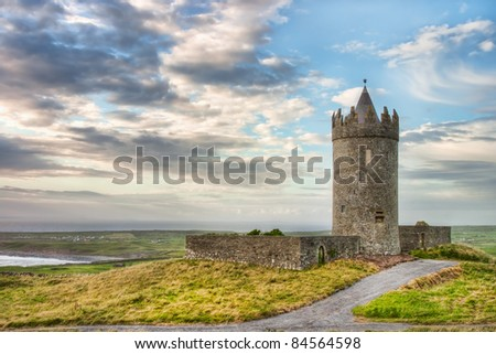 Doonagore Castle in the beautiful scenery in Ireland. - stock photo