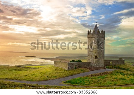Doonagore Castle in the beautiful scenery, Ireland. - stock photo