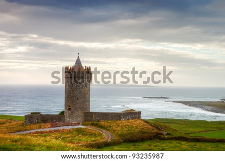 Doonegore castle in Doolin, Ireland. - stock photo