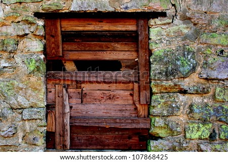 door against stone cabin
