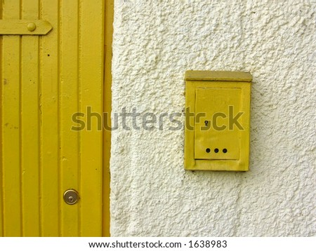 door and box yellow - stock photo