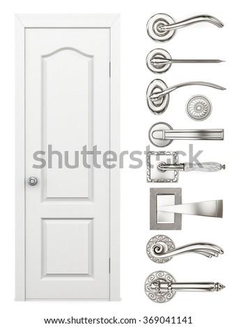 Door and door handles set on a white background. 3d rendering. - stock photo