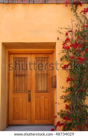 door and flowering vine in Southwestern neighborhood - stock photo