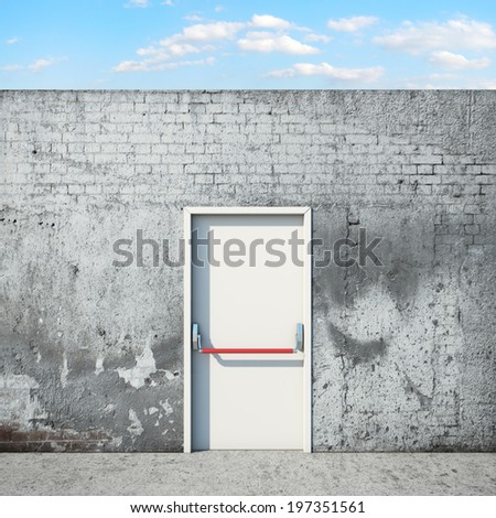 Door and wall in front of sky - stock photo