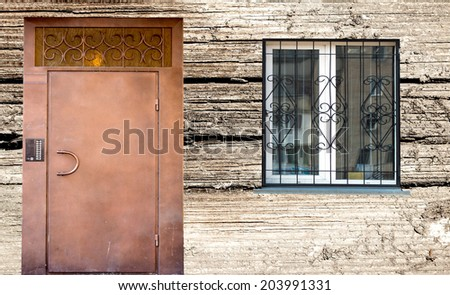 Door and window, wooden background house