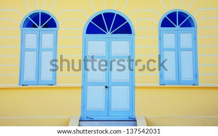 Door and windows of historical house in Thailand