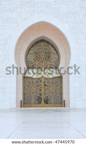 Door at Sheikh Zayed Mosque in Abu Dhabi, United Arab Emirates - stock photo