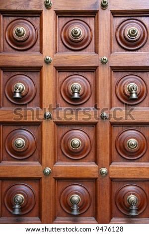 Door Bells - Sri Srinivasa Temple, Singapore - stock photo