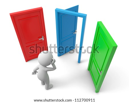 Door/Choose/A person thinking in front of three doors - stock photo
